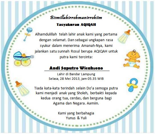 Undangan Aqiqah Kekinian Download Ms Word Gratis Pelangi
