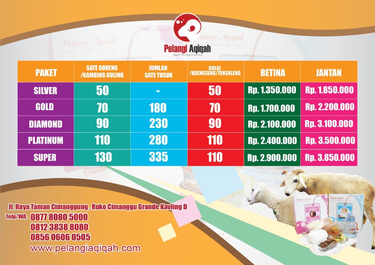 Price list Pelangi Aqiqah satuan 2020